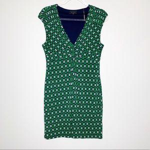 KIARA Sleeveless Mini Dress Green Navy Medium